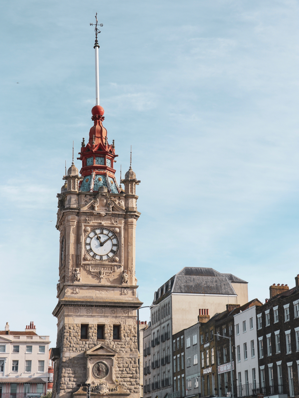 Margate's ornate Clock Tower stands in front of more modern buildings - One Day in Margate